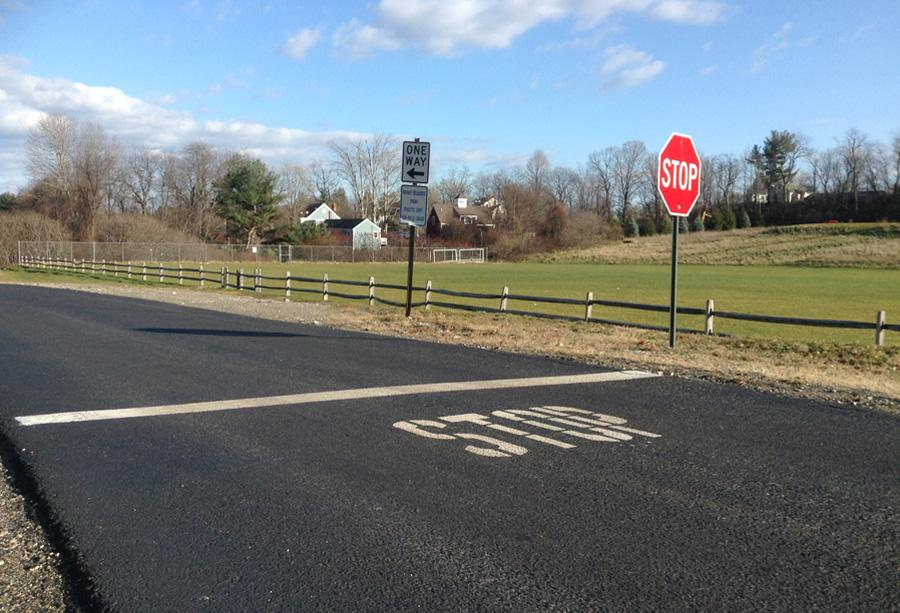 A photograph of the stopping point located between the school and the lacrosse field.