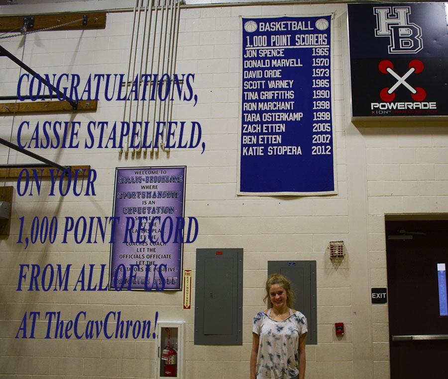 Cassandra Stapelfeld '17 is the first 1000 point scorer at HB since 2012.