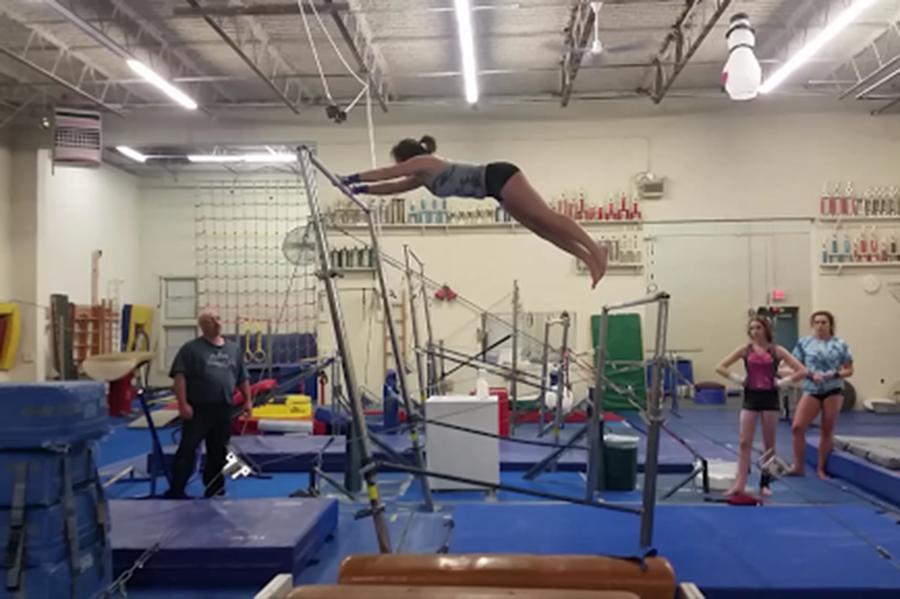 HB's gymnastics team working hard at practice.