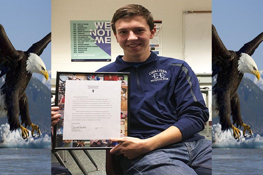 Adam+McQuilkin+%2718+presenting+his+Eagle+Scout+certificate.