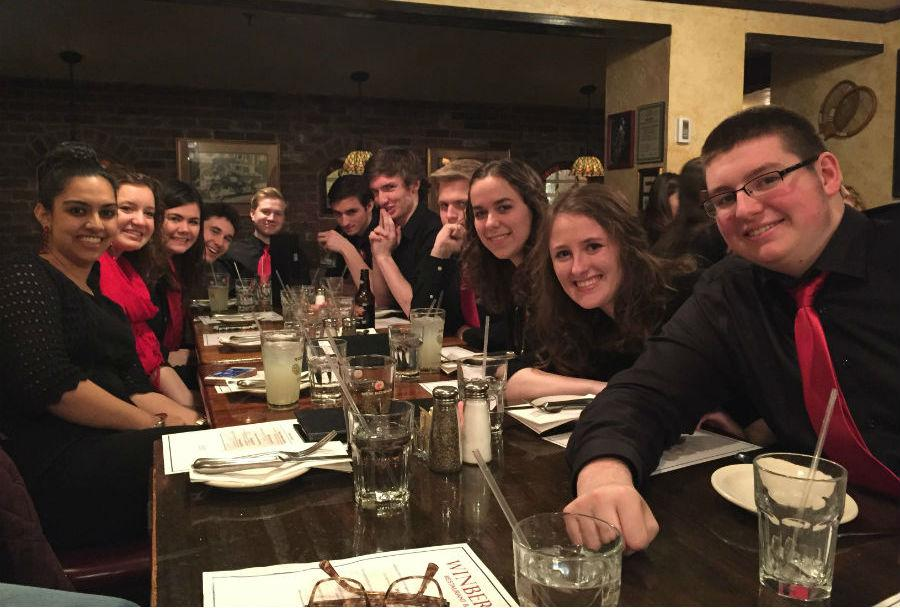The Honors Choir eating dinner before a concert