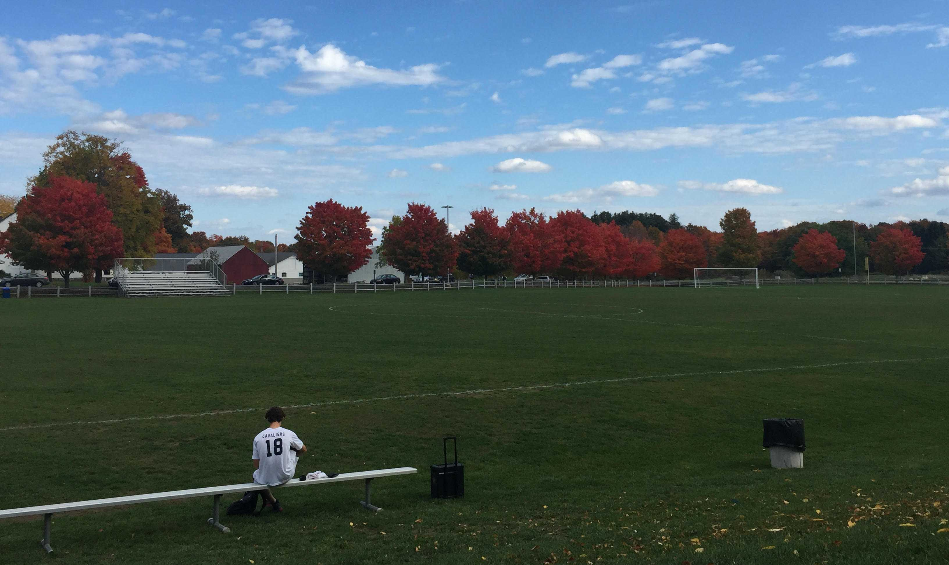 The Hollis Brookline soccer field after a fall afternoon game.