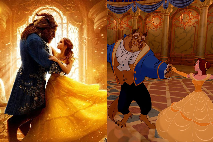 Emma+Watson+and+Dan+Stevens+in+the+famous+ballroom+scene%2C+alongside+their+animated+counterparts.+