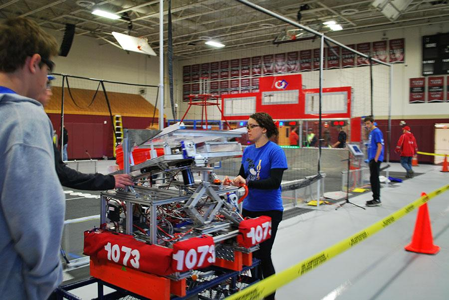 Wheeling the robot to the field before setting up for the match