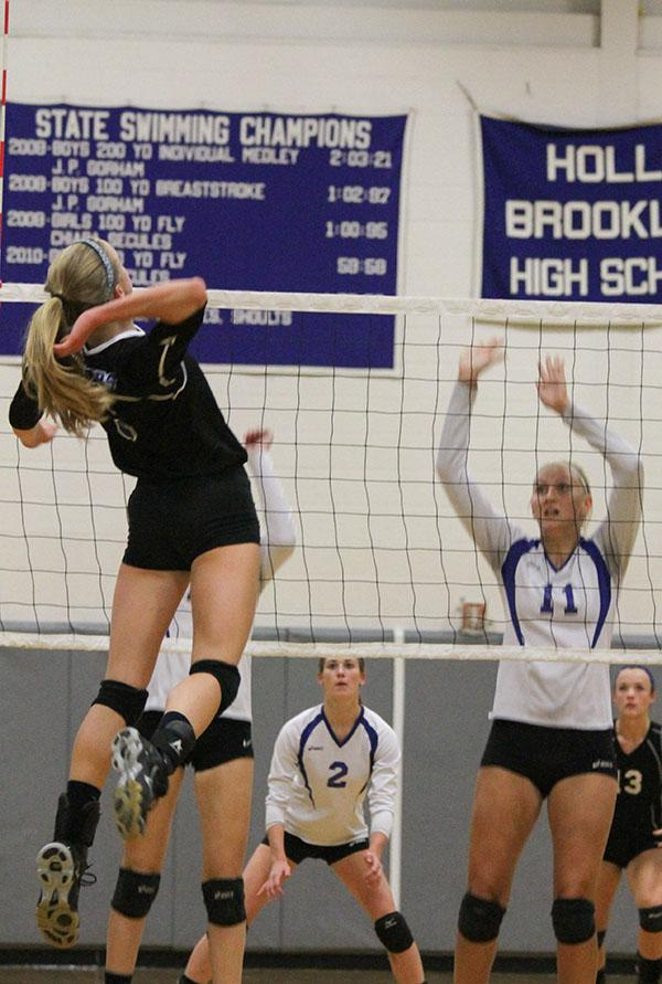 Savannah Werne makes a big hit at a home game this season.