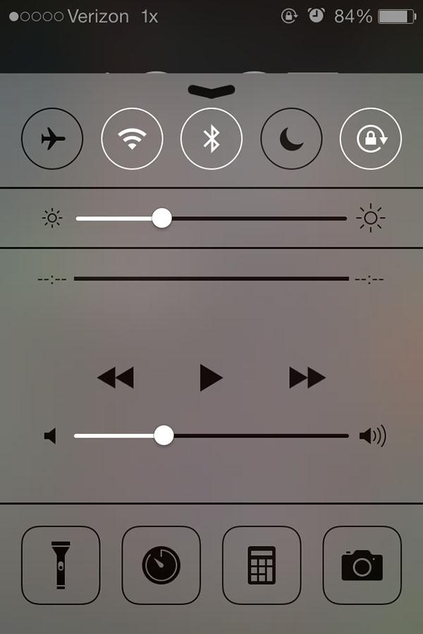 iOS 7 lockscreen tool bar.