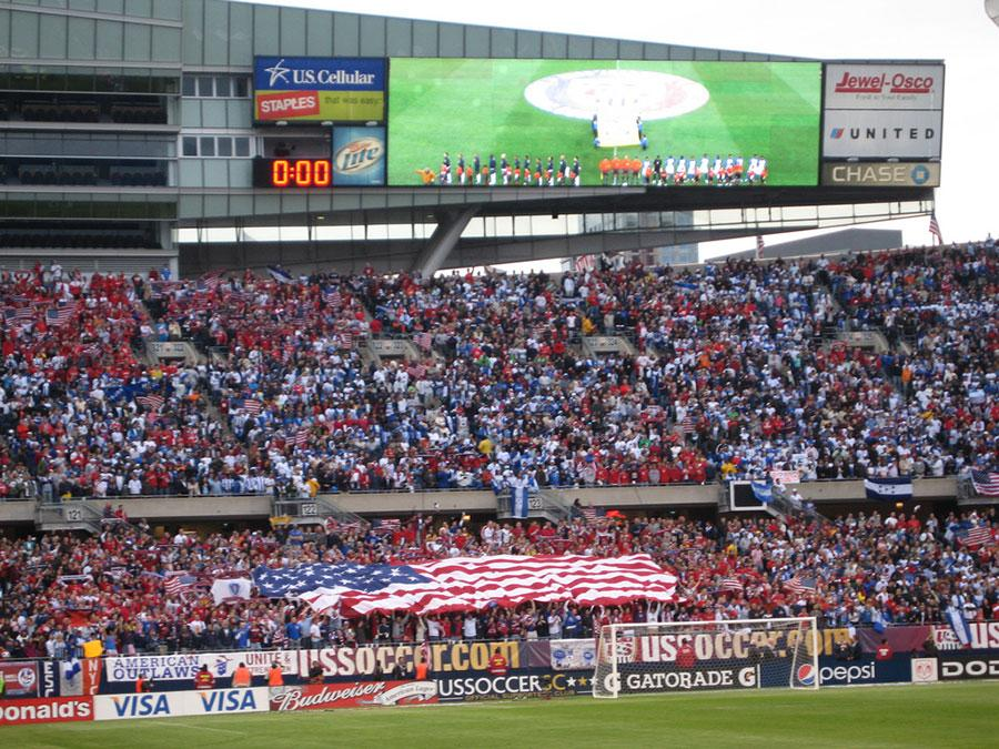 US Men's National Team supporters at a World Cup Qualifying Match.