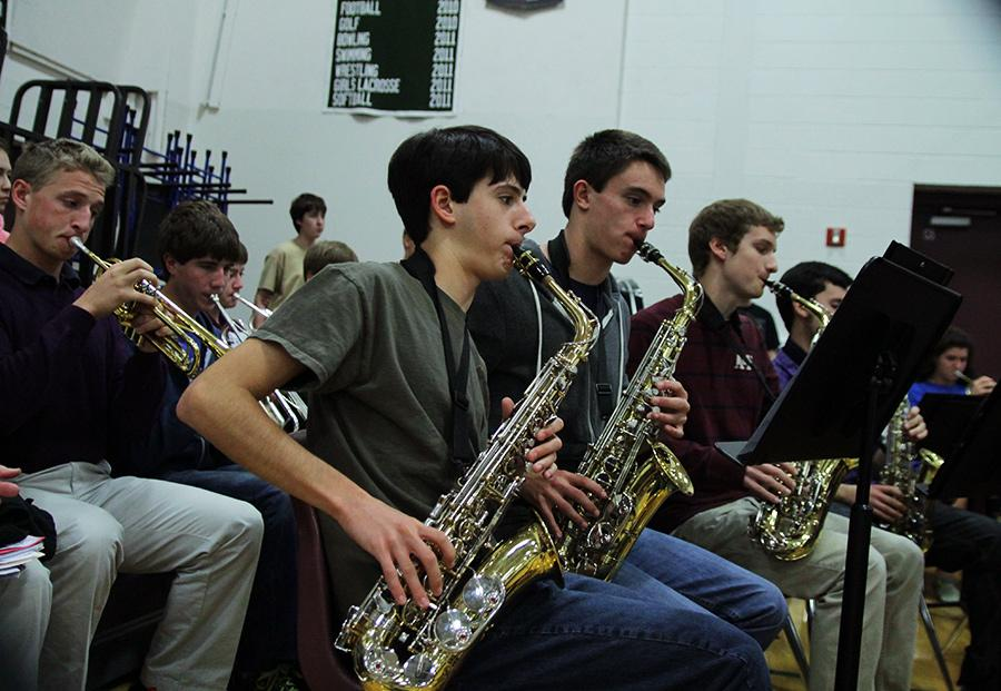 Concert Band members performing at the assembly.