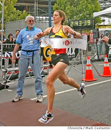 Flamino at the finishing line of the San Francisco Marathon