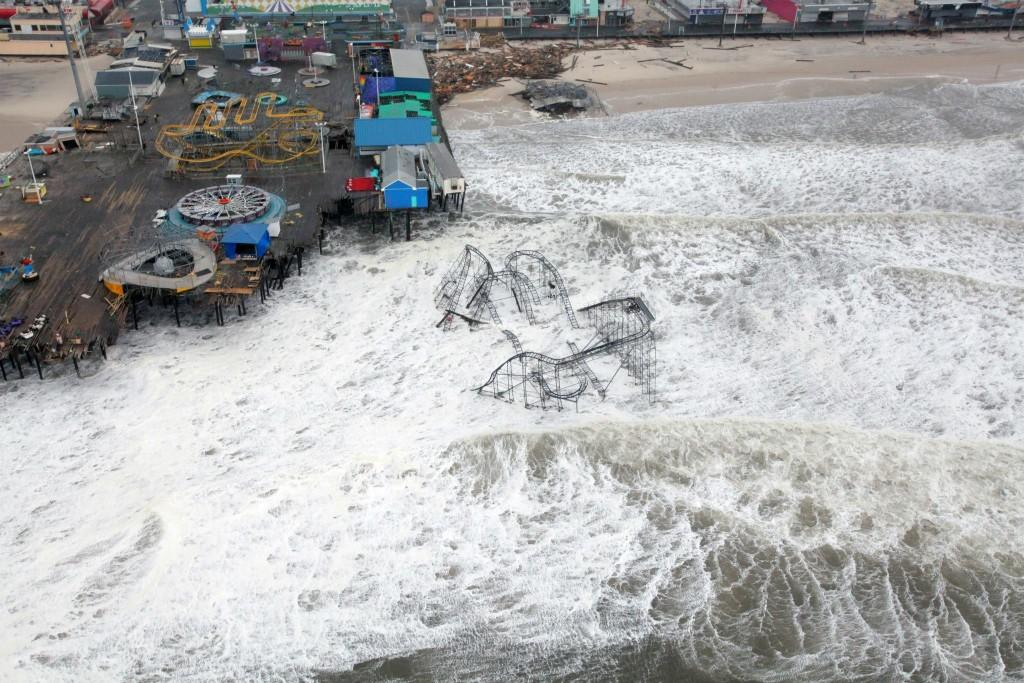An amusement park stationed on a pier in New Jersey was decimated by Hurricane Sandy in 2012.