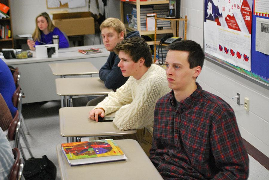Werner Traut, Alec Grant, and Chris Beckett, '14, paying close attention in Contemporary Issues on Tuesday