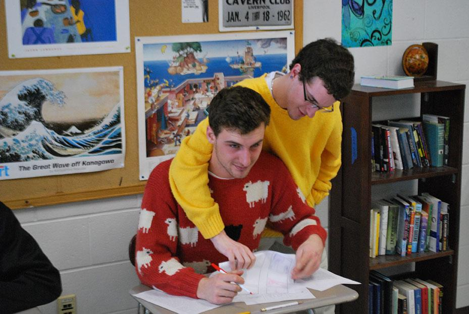 Jared Noftle and Ryan Lecours, '14, working hard in Film Studies on Tuesday