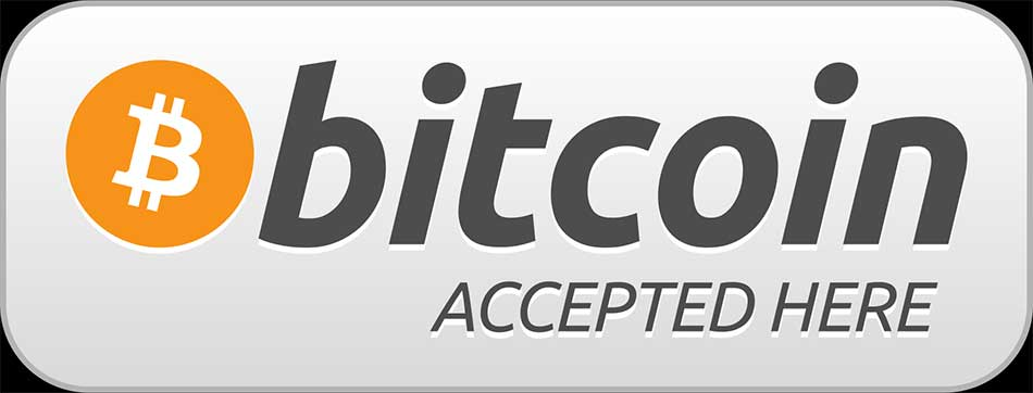 A sign that may be seen at locations, or on websites that accept Bitcoin as currency.