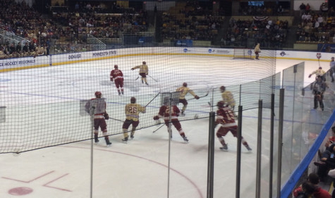 Boston College taking on Denver in the first round of playoffs at the DCU Center in Worcester, MA.