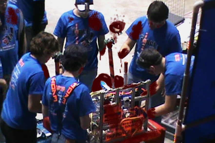 FIRST Robotics Team 1073 was suddenly met with a gruesome scene when they tried to repair their traumatized robot
