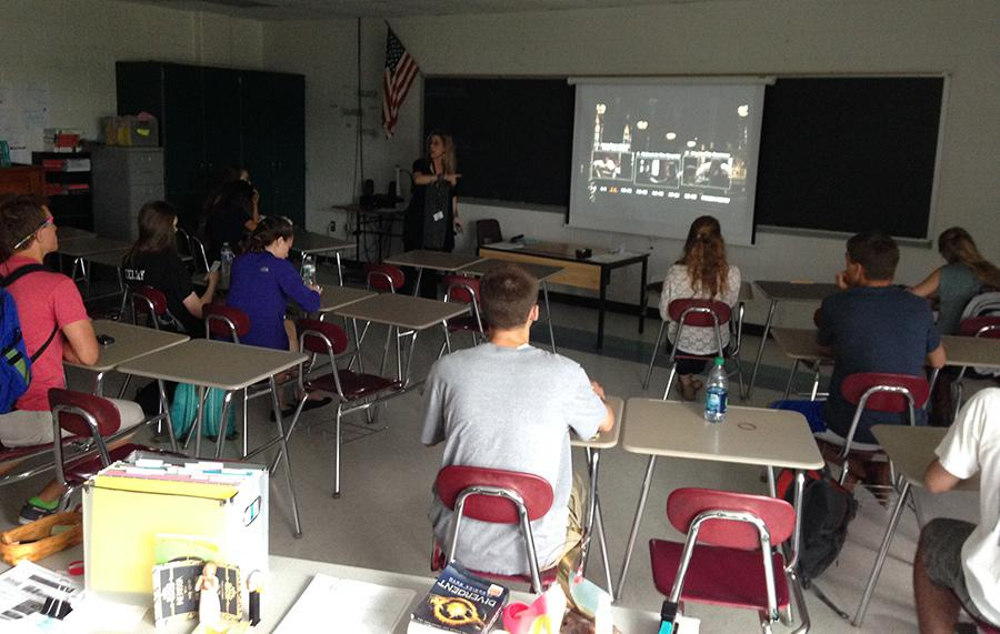 Ms. Calo teaches her students about different film aspects/techniques in Film Studies