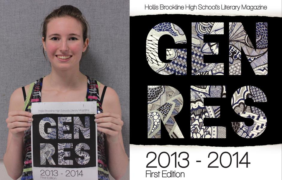 Hannah St. George, '14, shows off the cover page of the magazine.