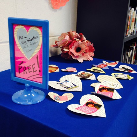 Among other activities in the library, Heaton created over a hundred valentines for students to take. There are only fourteen left.