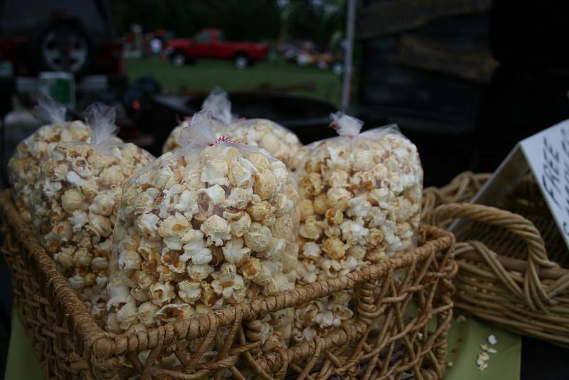 Delicious snacks like popcorn adorn the many tents set up to promote businesses, school functions, and local activities
