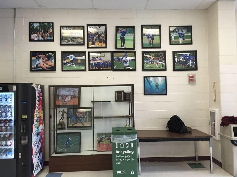 The Class of 2015's senior gift hangs in the back lobby at HBHS.