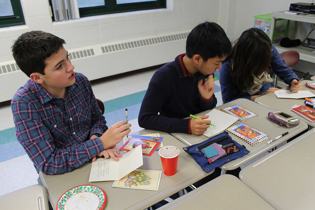 HB's Red Cross and Homefront clubs spent after school making cards for soldiers overseas