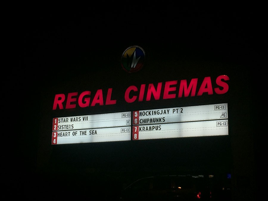 The sign at Regal Cinemas in Hooksett, NH on opening night of The Force Awakens.