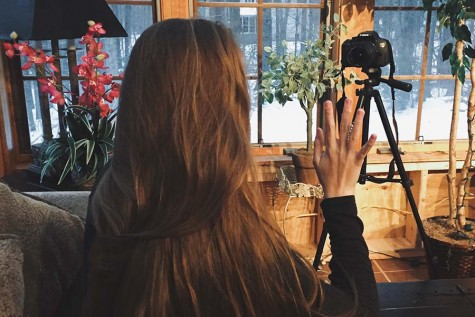 Niki Maragos preparing for a new video to go up on her personal YouTube channel.