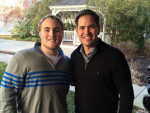 Jack Shields and presidential candidate Marco Rubio.