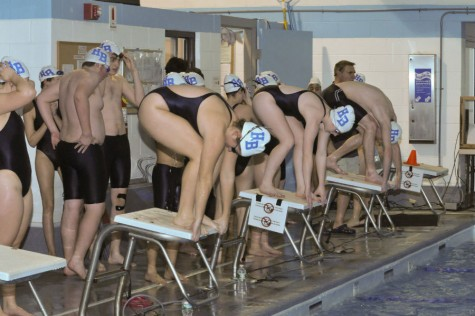 Swimmers getting ready for a race