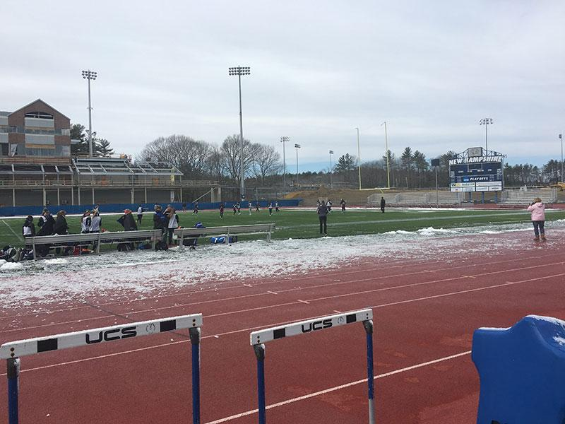 The team's preseason scrimmage at UNH last weekend surp featured snow.