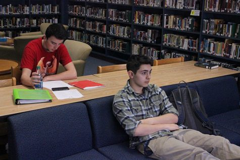 Joe White '17 and Matt Dowling '18 in the HB library.