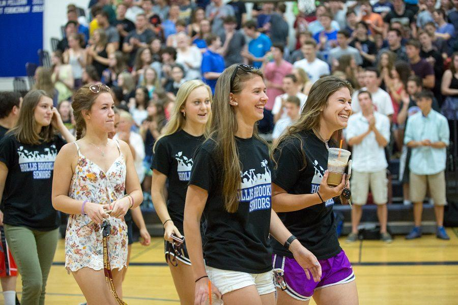 One last time:  Lex Chilton and Nicole Hall lead seniors in their last assembly as HBHS students.