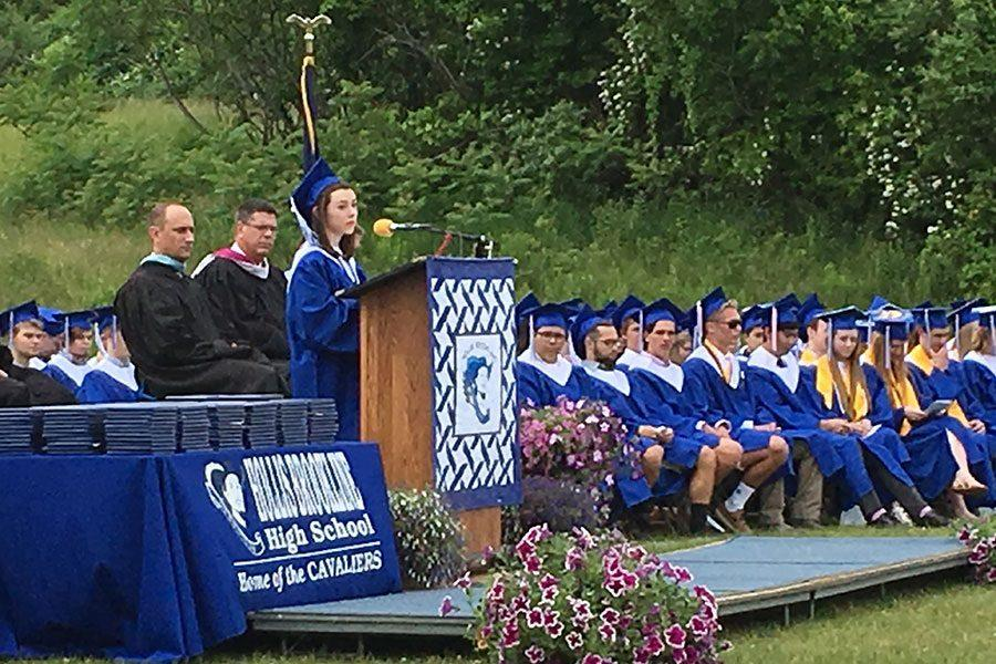 Catherine Cotton, Senior Class President, delivers her welcoming address.