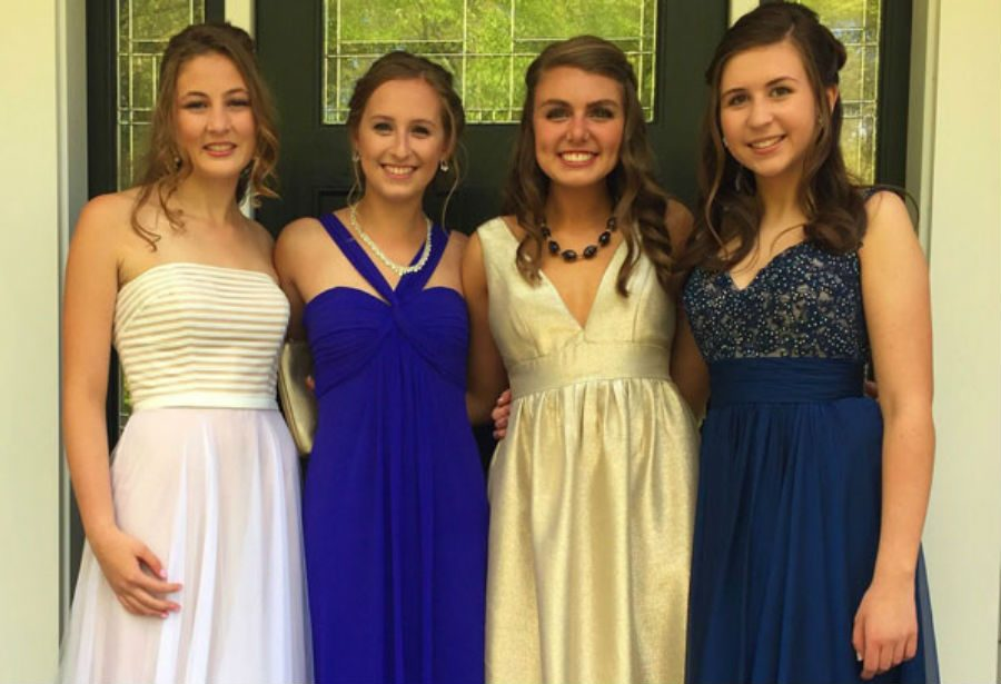 From left to right: Emily Babcock '16, Sarah Cramton '16, Courtney Ulrich '16, McLane Wood '16 pose for a picture before senior prom
