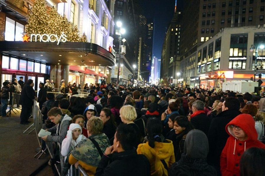 Hundreds wait to get in on the Black Friday deals.