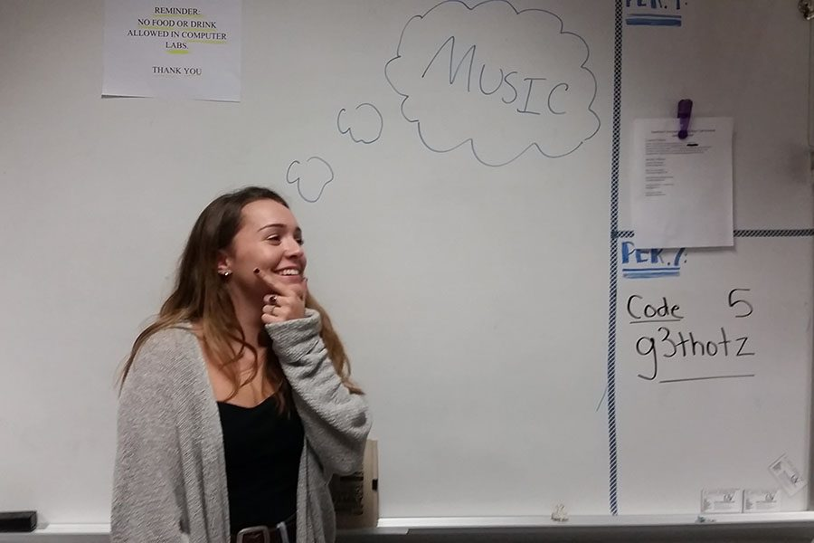 Emma thinks about music during Period 6 Senior Quest