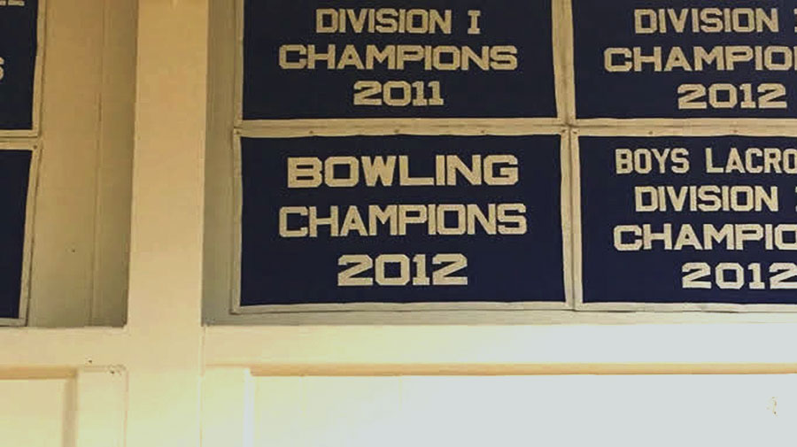 This banner serves as a permanent reminder to the bowling team's success in recent years.
