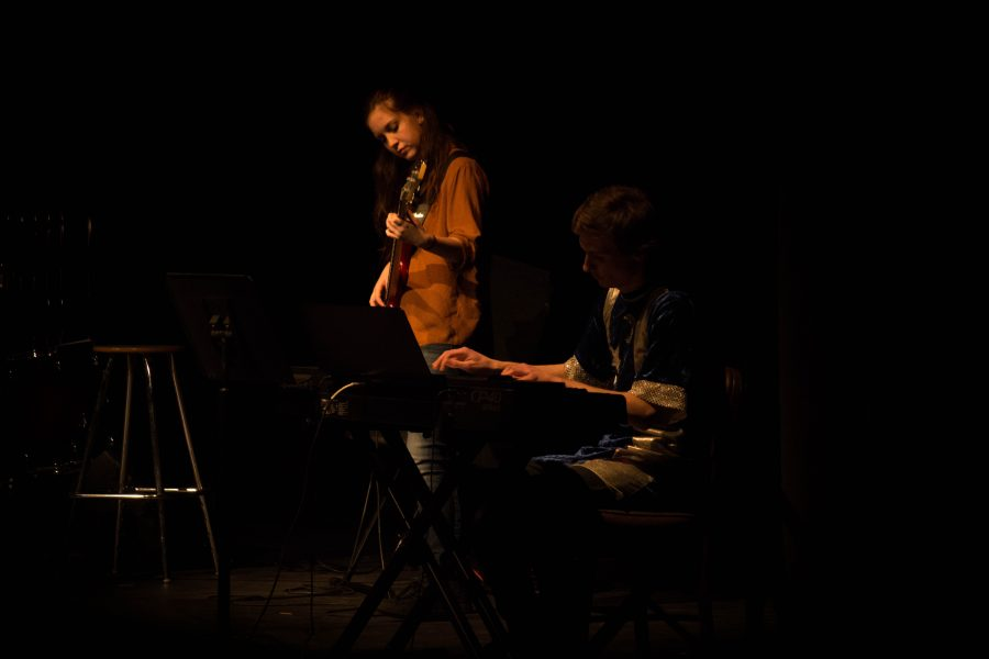 Abbey Shulz '18 and Joey Schunemann '18 accompany a vocalist