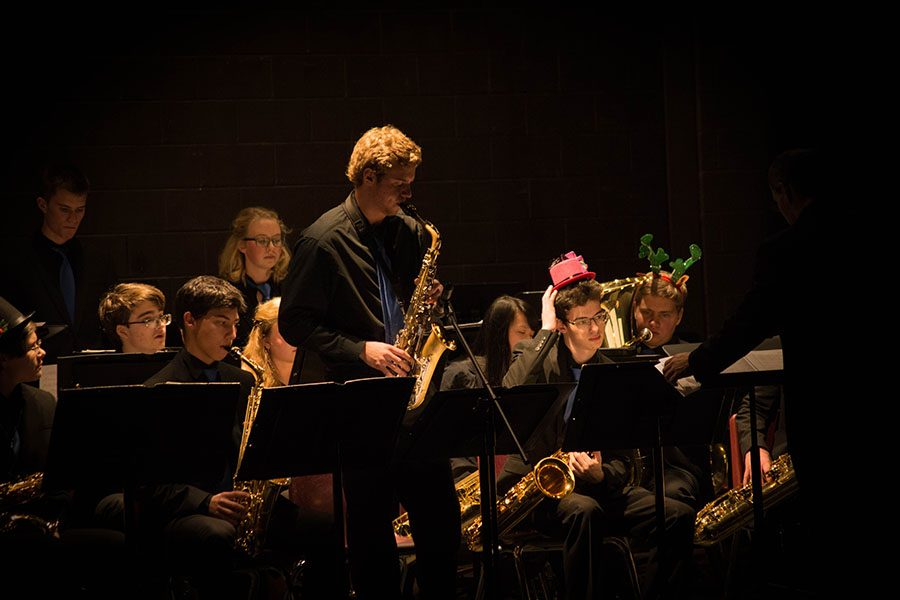 Nick Hinchcliffe '17 rocks a solo in Honors Jazz Band.