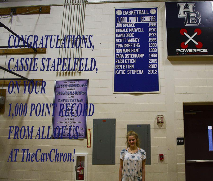 Cassandra Stapelfeld '17 is the first 1000 point scorer at HB since 2012.