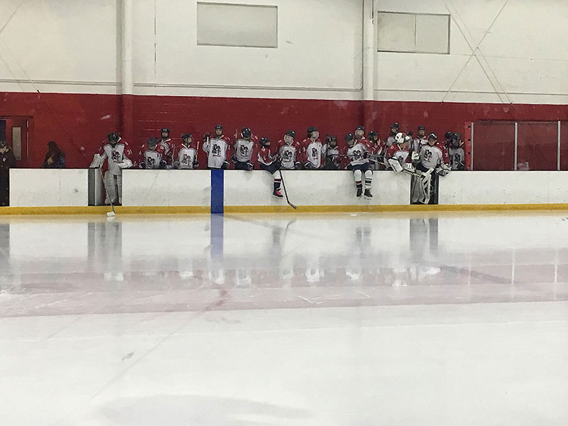 The Warriors about to take the ice for pre-game warm-ups.
