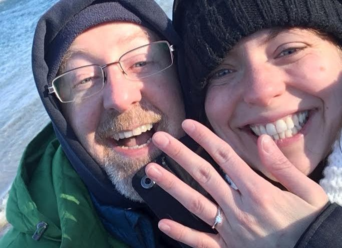 Eric Perry and his now-fiance celebrate their engagement.