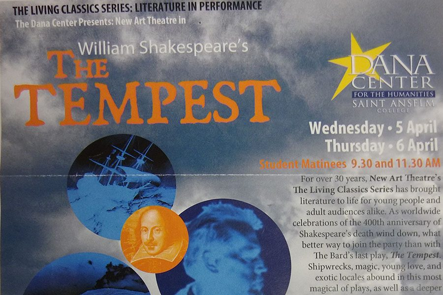 On Wednesday, April 5, members of the freshman class attended a showing of The Tempest, performed at Saint Anslem's College