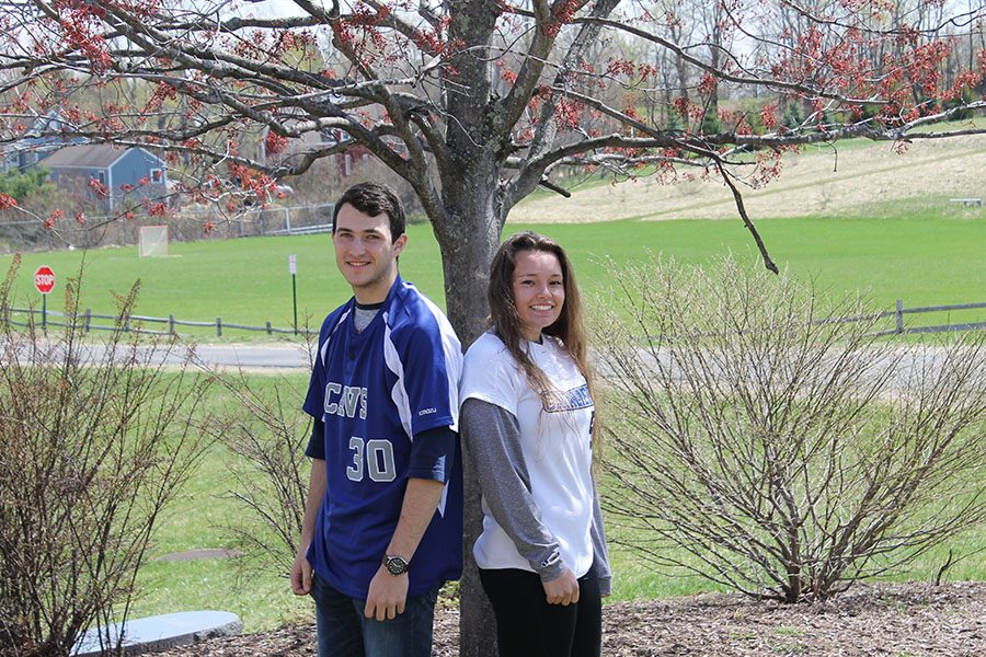 Varsity baseball player Nate Corsetti '17 and varsity softball player Katie Connors '17