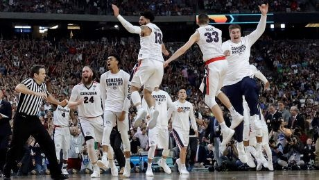 Gonzaga celebrates after their Final Four win against South Carolina