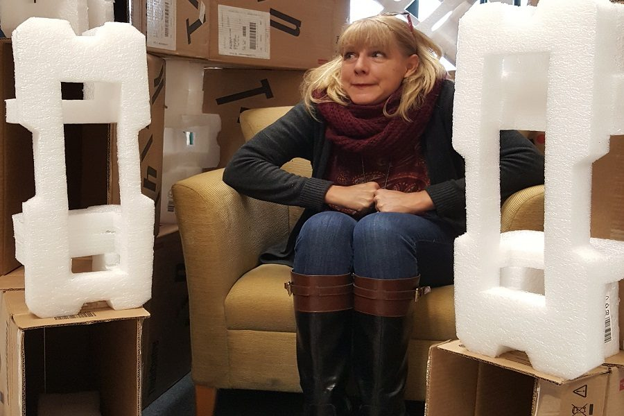 English teacher Lin Illingworth hiding out in the box fort.