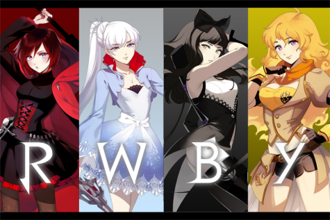 RWBY has achieved remarkable fan response since its pilot. From left to right: main characters Ruby Rose, Weiss Schnee, Blake Belladonna, and Yang Xiao Long.