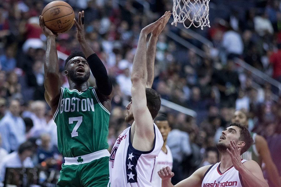 Second-year standout Jaylen Brown goes up for a tough layup against the Washington Wizards. The young star will have a lot more weight on his shoulders this season after Gordon Hayward went down with a season ending ankle injury in the first game of the season.