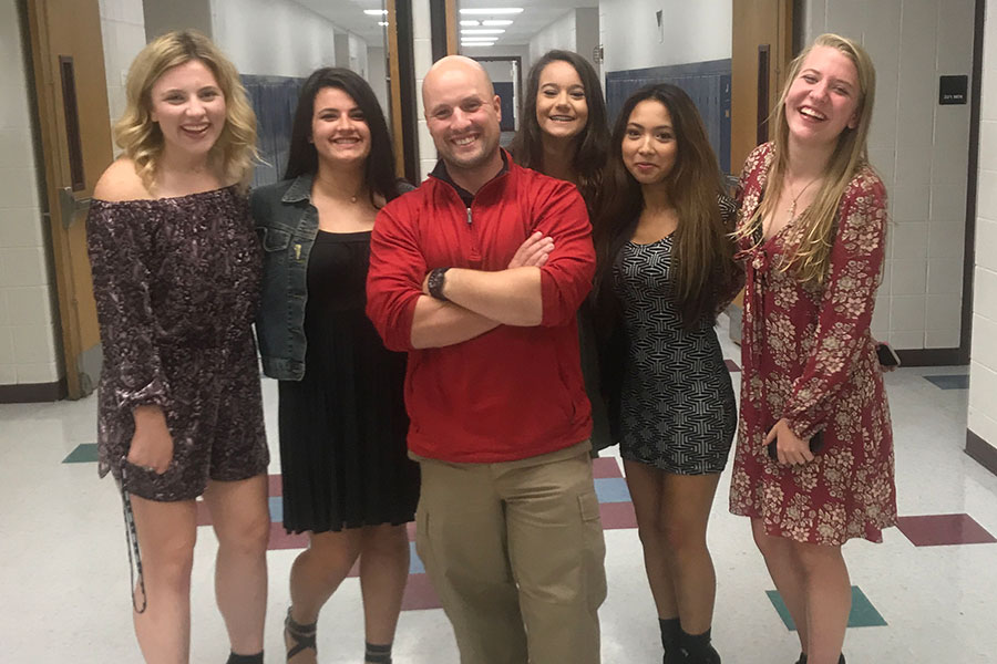 Athletic Trainer, Mike Thompson, with (left to right) Lexie Vachon '18, Ashlyn Bodhodt '18 , Tatyana Rodriguez '18, Olivia Bourgeois '18, and Hannah Hayes '18.