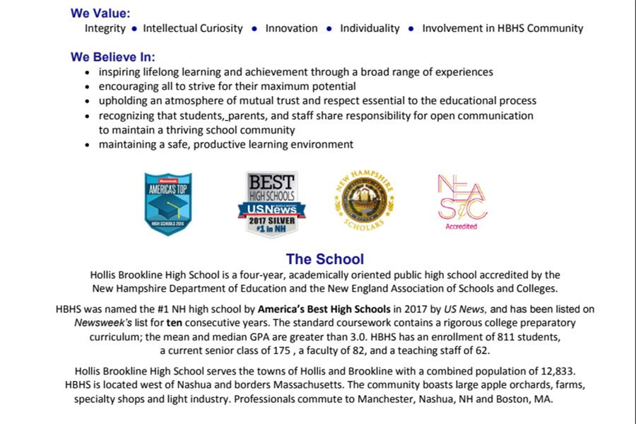 Hollis+Brookline%E2%80%99s+Profile+displays+some+of+the+school%E2%80%99s+academic+rigor+and+overall+success.+SAU41+is+known+for+typically+leading+the+public+educational+scene+in+New+Hampshire%2C+consistently+ranking+within+the+top+three+schools+year+after+year.+%E2%80%9CI+believe+school+is+what+you+make+of+it+and+those+who+chose+to+go+further+and+dig+deeper+should+be+given+the+credit+they+deserve%2C%E2%80%9D+says+Madeleine+McCann+%E2%80%9818%2C+in+regard+to+enabling+students+to+embark+on+independent+projects.